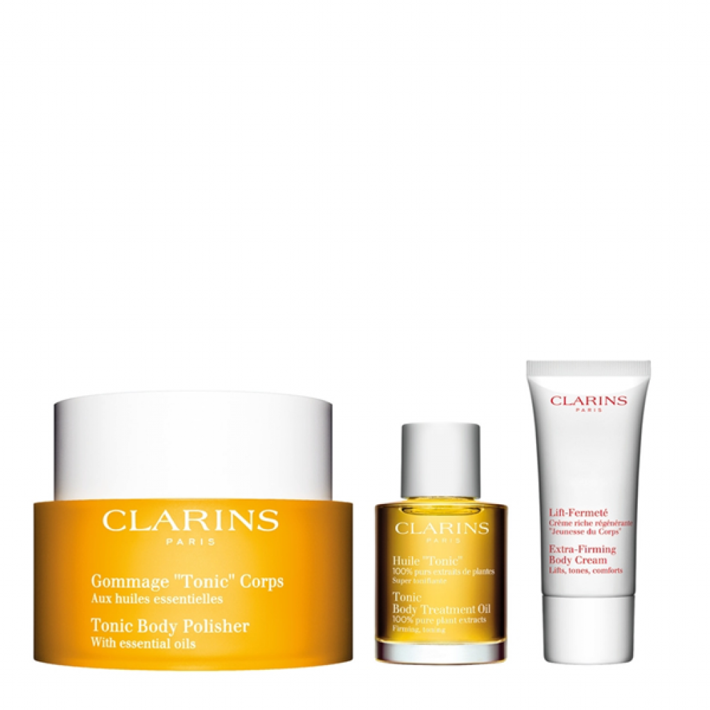 Clarins Body Care Gommage Tonic Vendita Cofanetto Corpo Coffret Treatment Oil 30ml Esfoliante Online Pinalli Profumerie